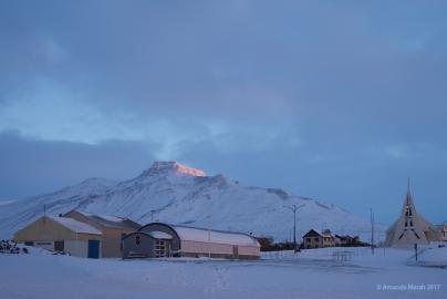 First light hitting the peak